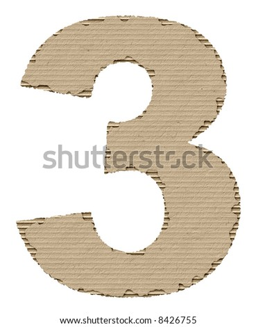 number 3 made of torn cardboard - stock photo