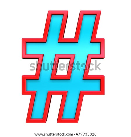 Number mark sign from light blue with red frame alphabet set, isolated on white. 3D illustration.