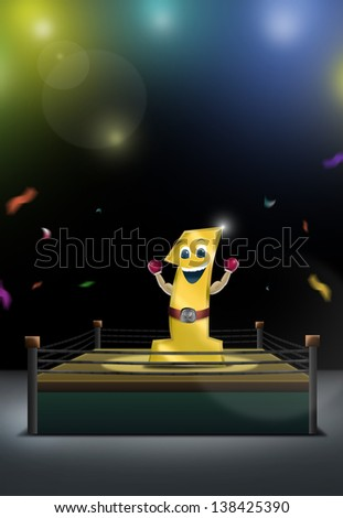 Number 1 mascot boxer celebrating with In arena, Winning and Product background concept