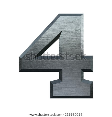 Number 4. Metal alphabet. Industrial metal font isolated on white.