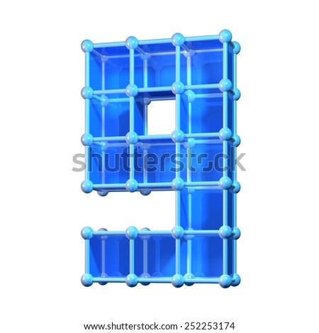 Number nine, 9. 3D molecular structure. Numerals isolated on white background. - stock photo
