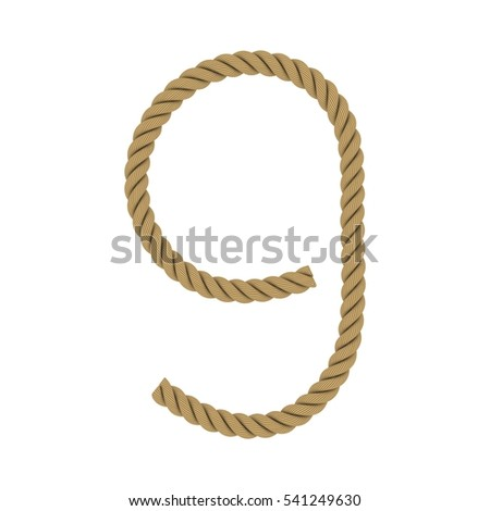 Number Nine made from Rope Isolated on White 3D Illustration