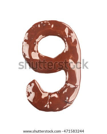 Number nine made of liquid chocolate, isolated on white