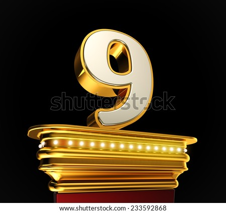 Number Nine on a golden platform with brilliant lights over black background - stock photo