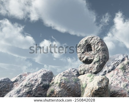 number nine rock under cloudy blue sky - 3d illustration - stock photo
