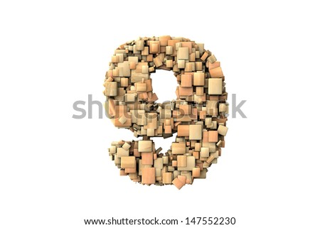 Number nine shape  build with wood particles, over white background - stock photo