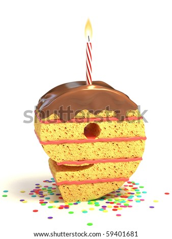 number nine shaped chocolate birthday cake with lit candle and confetti