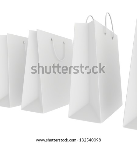 number of blank white shopping bags