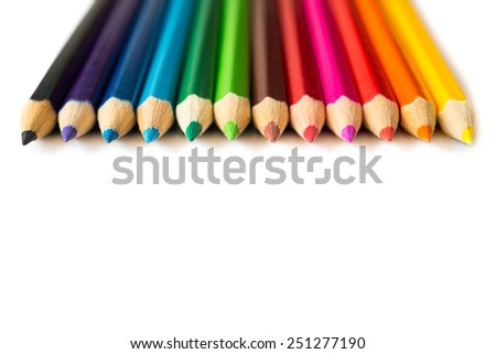 Number of colored pencils - stock photo