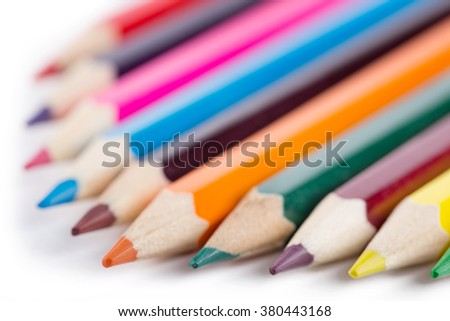 Number of colored pencils isolated on white background