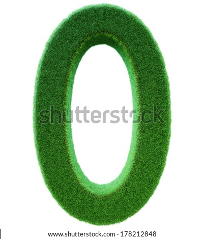 number of 0 from a green grass. Alphabet from a grass. Isolated on a white background in 3d