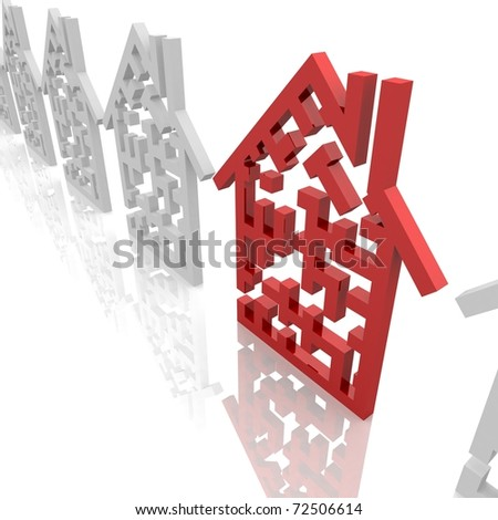 number of mazes in the shape of the house, one of which is red