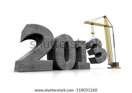 Number of new year with crane holding three - stock photo
