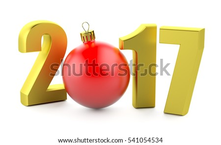 Number of New Years and christmas toy isolated over white.3d illustration