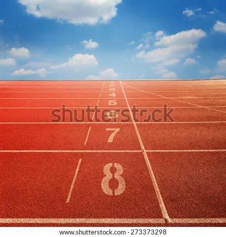 Number of running track in outdoor stadium. - stock photo