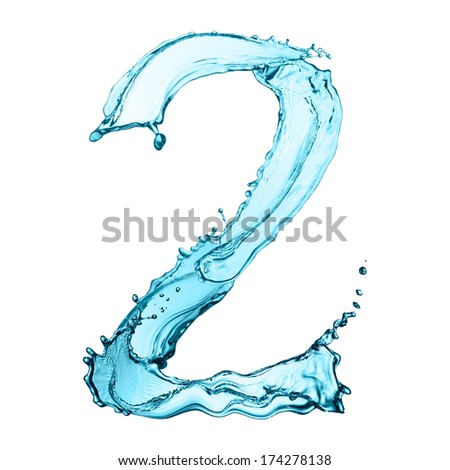 Number 2 of water splashes isolated on white background - stock photo