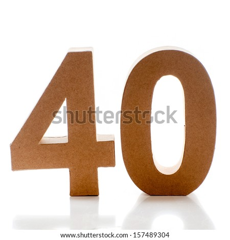 Number 40 on a white background