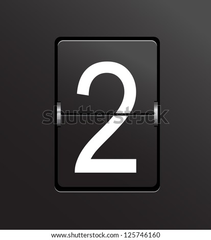 Number 2 on black, panel background. - stock photo
