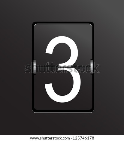 Number 3 on black, panel background. - stock photo