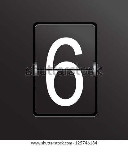 Number 6 on black, panel background. - stock photo