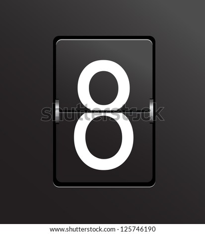 Number 8 on black, panel background. - stock photo