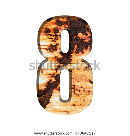 Number on Grungy Rusted Steel texture isolate on white background