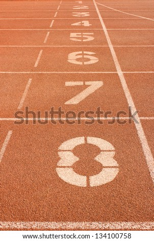 Number on running track - stock photo