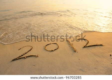 number 2012 on the beach of sunrise