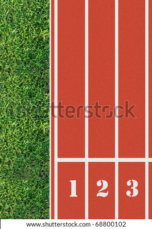 Number on the start of a running track from bird's eye view