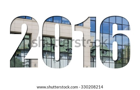 Number 2016 on white background for calendar, business annual report, book cover, flyer, poster - stock photo