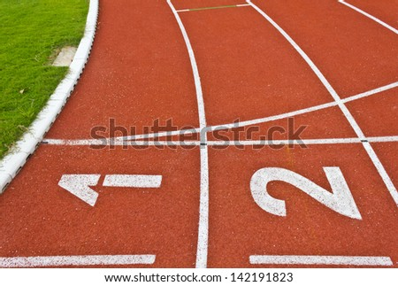number one and two on the running track lines
