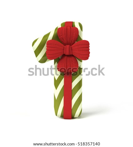 Number 1, One, decorated as Gift Box with Red Ribbon isolated on White Background. Font Concept with Xmas Color Scheme. 3d rendering illustration