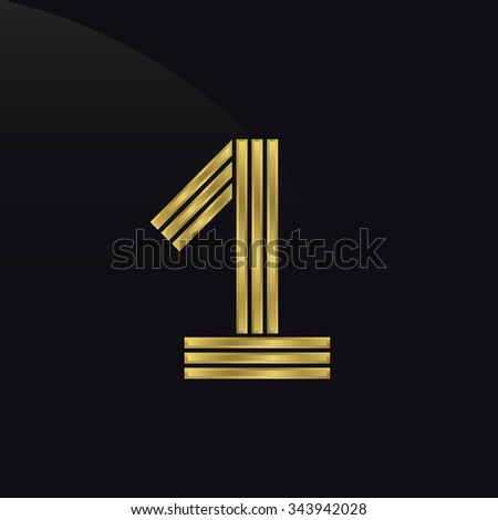Number one, first place, golden award symbol. Champion, winner and leadership concept.  Raster copy - stock photo