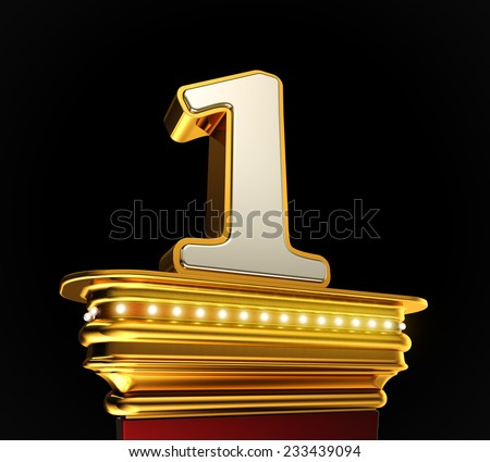 Number One on a golden platform with brilliant lights over black background - stock photo