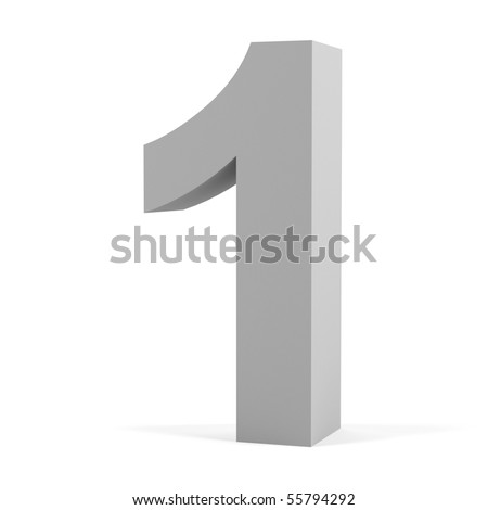 Number one on a white background. - stock photo