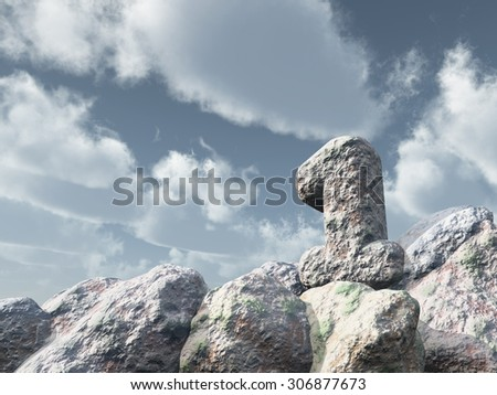 number one rock under cloudy blue sky - 3d illustration