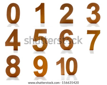 Number one till ten on a white background - stock photo