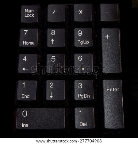 Number pad on keyboard. - stock photo