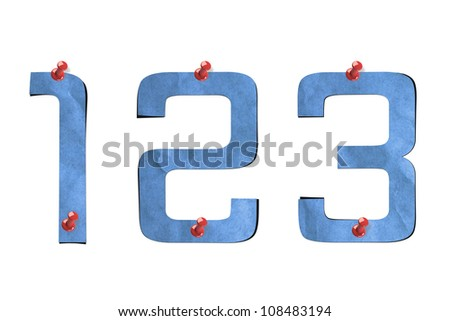 number recycled paper craft stick on background (1 2 3) - stock photo