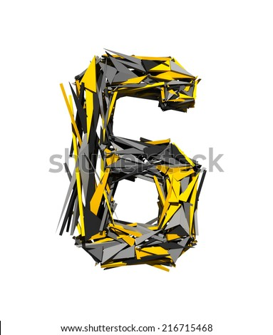 Number 6. Robot Transformer font isolated on white background. 3d. - stock photo