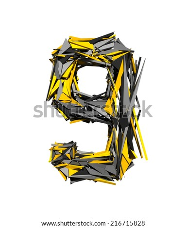 Number 9. Robot Transformer font isolated on white background. 3d. - stock photo