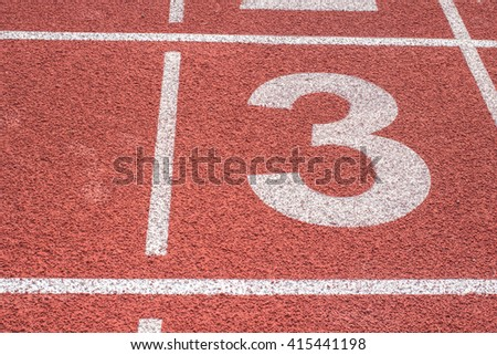 Number 3, Running track for the athletes background