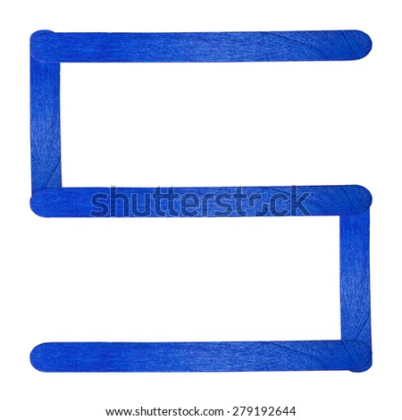 Number 5 separated by blue wood stick on isolated white background - stock photo
