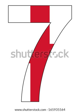 Number series with flag inside - England