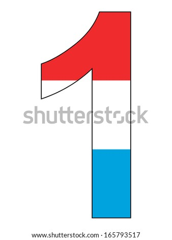 Number series with flag inside - Luxembourg