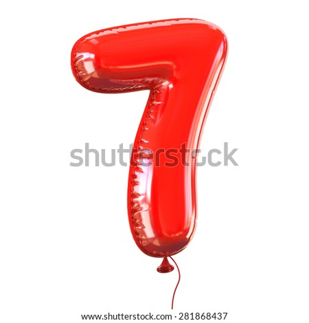 number seven - 7 balloon font