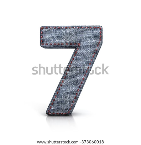 Number Seven, 7, denim (jeans) fabric. 3d illustration isolated on white.