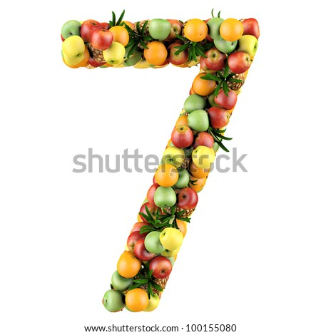 Number seven made from 3d fruits. Isolated on a white.