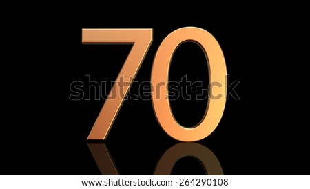 Number seventy, 70 in gold isolated on black background
