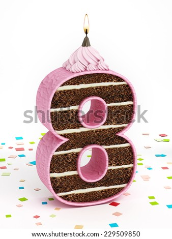 Number 8 shaped chocolate birthday cake with lit candle. - stock photo